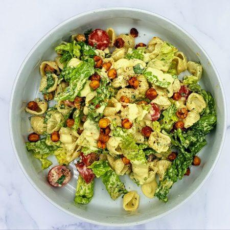 caesar salad with pasta and chickpea, vegmeup, plant based, food box, vegan
